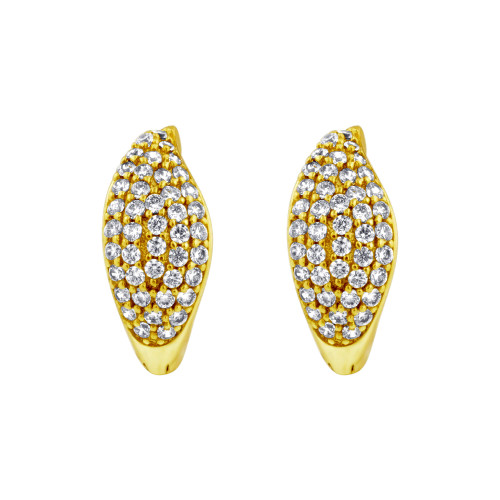 18K Gold Clear Cubic Zirconia 14mm Huggies Earrings