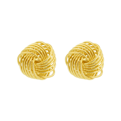 18K Gold Layered Infinite Knot Stud Earrings For Women