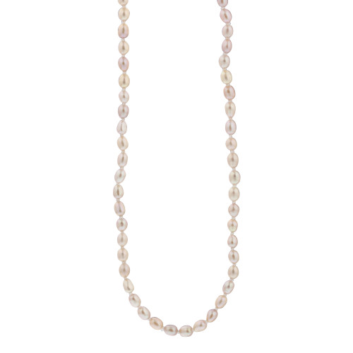 6mm X 4mm Freshwater Pearl Stainless Steel 18 Inch Necklace with Spring Ring Clasp