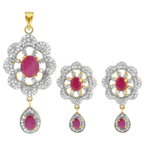 Ruby & Crystal Gold Tone Bollywood Indian Floral Flower Jewelry Set