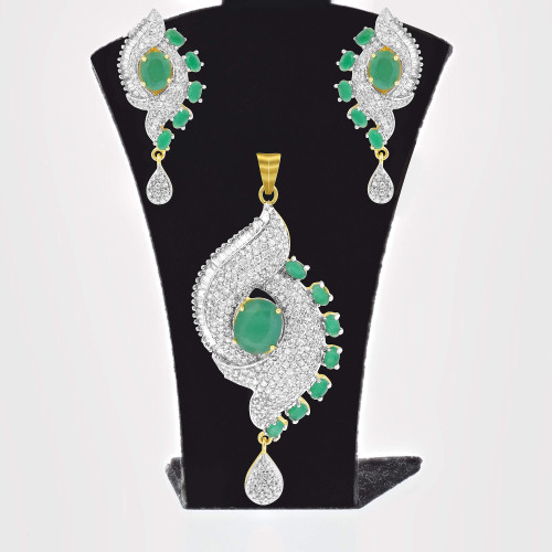 Gold Tone Simulated Emerald & Clear CZ Jewelry Set