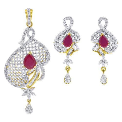 Teardrop Ruby & Clear Crystals Gold Tone Bollywood Indian Jewelry Set