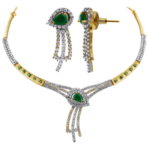 Emerald & Cubic Zirconia accents Necklace Earrings Set