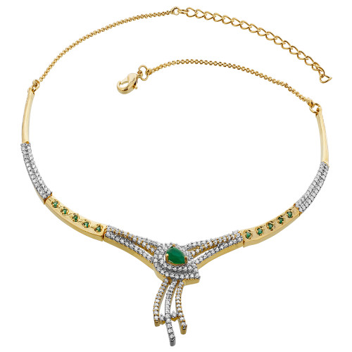 Gold Plated Simulated Emerald & Cubic Zirconia accents Necklace Earrings Set