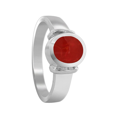 925 Sterling Silver Coral Oval Solitaire Ring