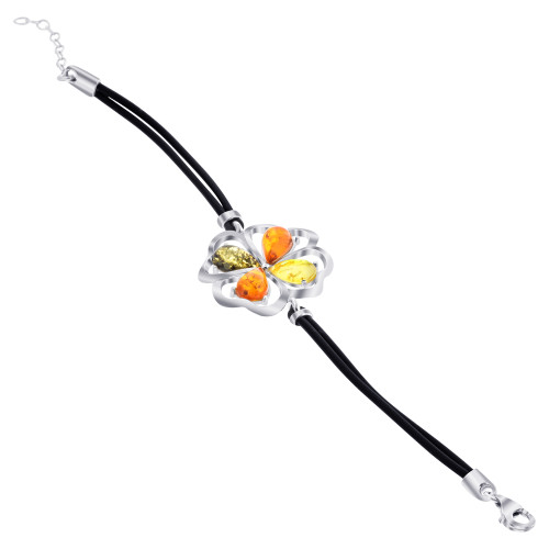 925 Sterling Silver Multicolor Baltic Amber Bracelet 8 inch