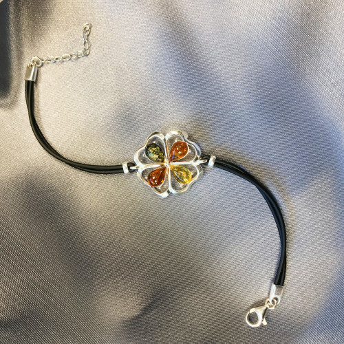 Sterling Silver Multicolor Baltic Amber Bracelet 8 inch