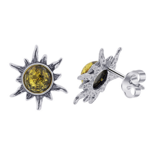 925 Sterling Silver Noon Sun Green Baltic Amber Stud Earrings