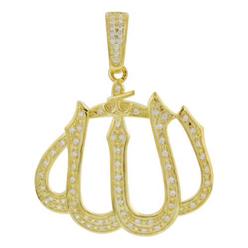 Gold Plated 925 Sterling Silver Cubic Zirconia CZ Islamic Allah Pendant