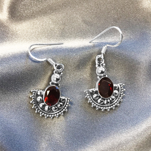 Sterling Silver Oval Shape Genuine Garnet Drop Earrings