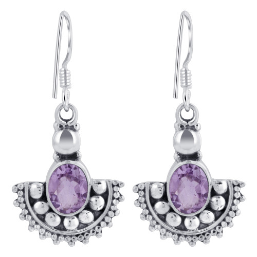 925 Sterling Silver Oval Shape Genuine Amethyst French Ear Wire Drop Earrings