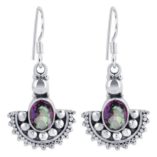 925 Sterling Silver Oval Shape Genuine Mystic Fire Topaz French Ear Wire Drop Earrings