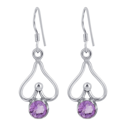 925 Sterling Silver Bali Style Round Shape Genuine Amethyst French Wire Drop Earrings