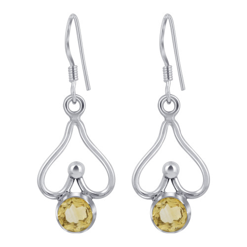 925 Sterling Silver Bali Style Round Shape Genuine Citrine French Wire Drop Earrings