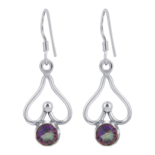 925 Sterling Silver Round Shape Genuine Mystic Fire Topaz French Ear Wire Drop Earrings