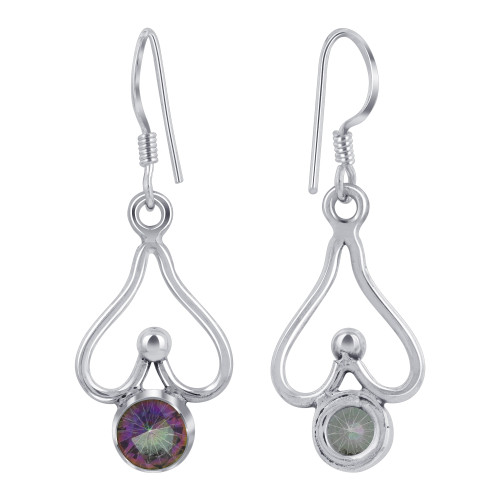 925 Sterling Silver Round Shape Drop Earrings