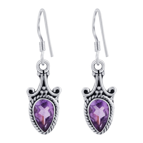 925 Sterling Silver Pear Shape Genuine Amethyst French Ear Wire Drop Earrings