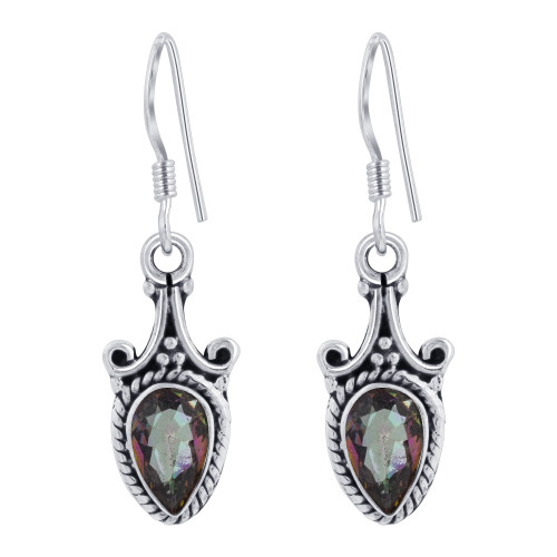 925 Sterling Silver Bali Style Pear Shape Genuine Mystic Fire Topaz French Wire Drop Earrings