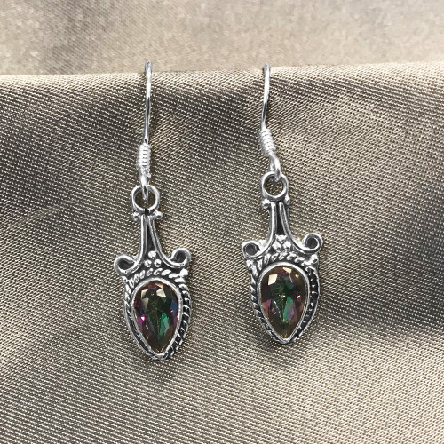 925 Silver Genuine Mystic Fire Topaz Drop Earrings