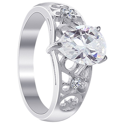925 Silver CZ 10mm Front Design with Prong Set Ring