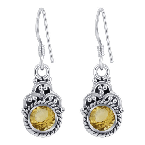 Sterling Silver Bali Style Yellow Round Shape Genuine Citrine French Hook Drop Earrings