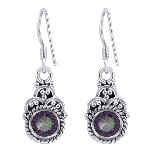 Sterling Silver Multicolor Round Shape Genuine Mystic Topaz French Hook Drop Earrings