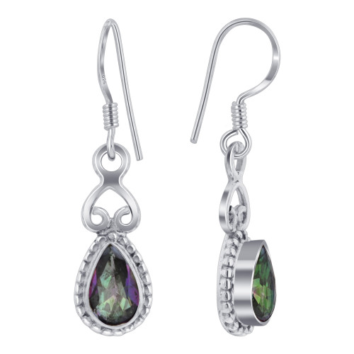 Sterling Silver Multicolor Mystic Topaz Drop Earrings