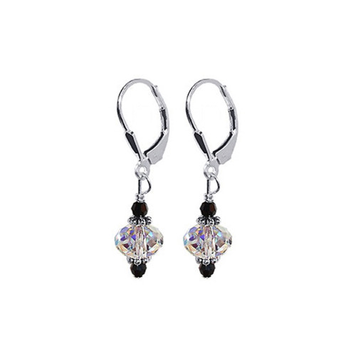 Sterling Silver Clear Crystal Earrings Made with Swarovski Elements