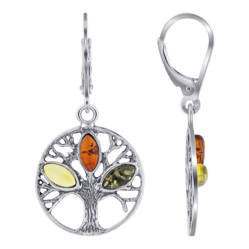 Sterling Silver Baltic Amber Drop Earrings