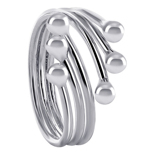 925 Sterling Silver 15mm wide wrap around with 3mm ball Ring