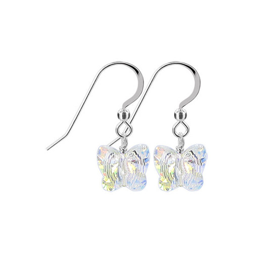 Sterling Silver Swarovski Elements Butterfly Crystal Earrings
