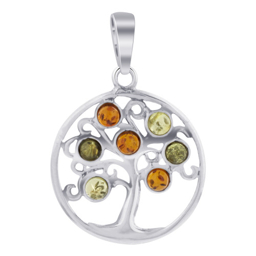 925 Sterling Silver Norse Tree of Life Pendant Genuine Multicolor Amber Stones