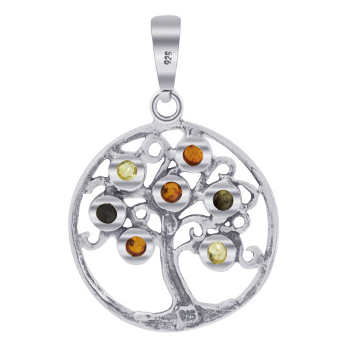 925 Silver Norse Tree of Life Pendant Genuine Amber Stones