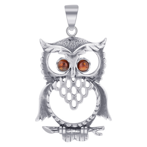 925 Sterling Silver Large Horned Owl Amber Pendant with Intricate Hollow Design