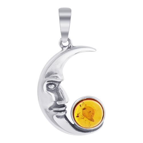 925 Sterling Silver Intricate Detailed Moon Face Pendant with Large Amber Stone