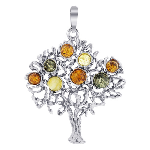925 Sterling Silver Intricate Fruit Tree Multicolor Genuine Amber Pendant