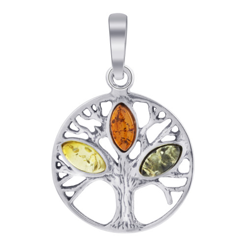 925 Sterling Silver Small Tree of Life Circle Pendant with Genuine Multicolor Amber Gemstone
