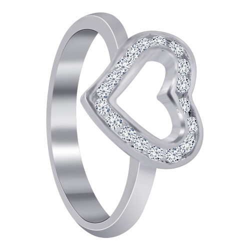 925 Silver 1mm CZ with 11mm x 12mm Open Heart Ring