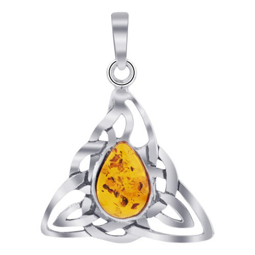 925 Sterling Silver Celtic Triangle Knot Pendant with Genuine Amber Gemstone