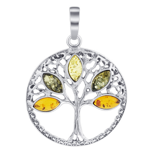925 Sterling Silver Tree of Life Pendant with Multicolor Marquise Cut Amber Gemstone
