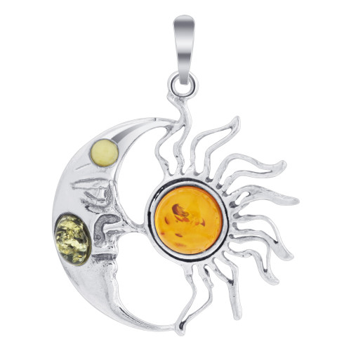 925 Sterling Silver Balanced Sun and Moonface Pendant with Genuine Amber Gemstone