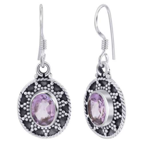 925 Sterling Silver Bali Design Oval Genuine Amethyst Gemstone French Hook Earrings