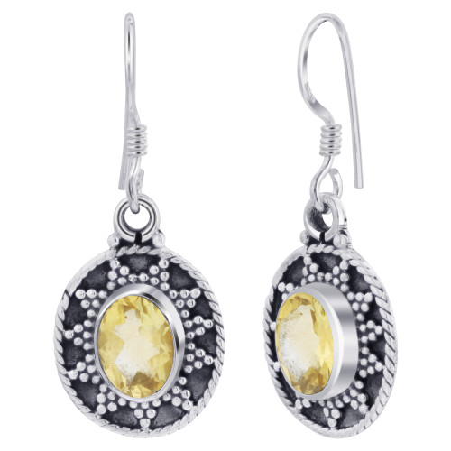 925 Sterling Silver Bali Design Oval Genuine Citrine Gemstone French Hook Earrings