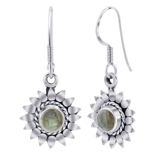 Sterling Silver Bali Design flower Round Shape Genuine Labradorite Gemstone French Hook Drop Earrings