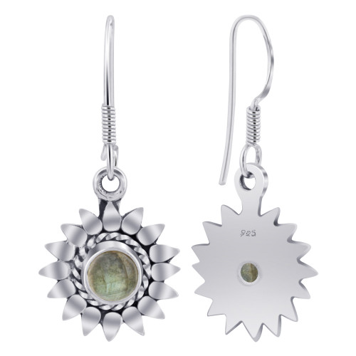 Sterling Silver Bali Design flower Labradorite Gemstone Drop Earrings