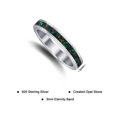 Sterling Silver Opal 3mm Eternity Band