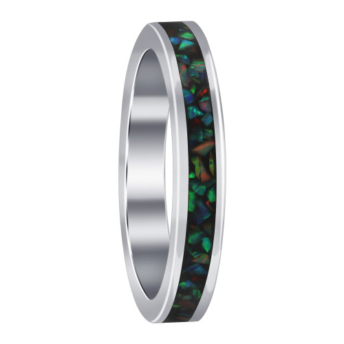 925 Sterling Silver Created Opal 3mm Eternity Band Women's Ring
