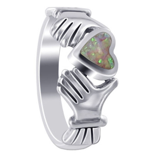 925 Sterling Silver Pink Created Opal Heart Irish Claddagh Women's Ring