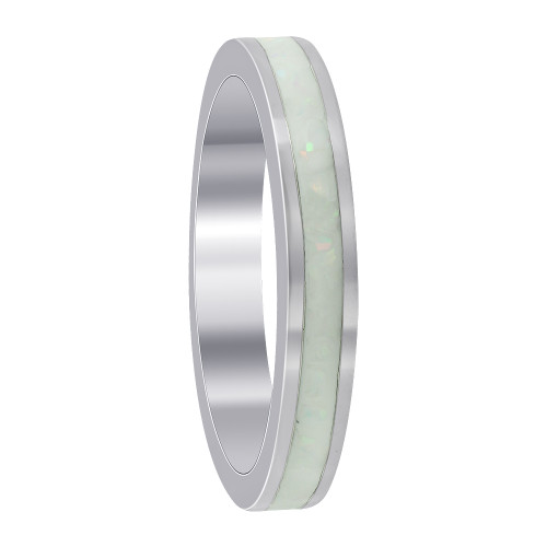 925 Sterling Silver Created White Opal 3mm Eternity Band Women's Ring