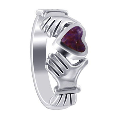 925 Sterling Silver Violet Cubic Zirconia Heart Irish Claddagh Women's Ring